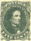 Scott #1 - the first Confederate stamp bearing the portrait of Jefferson Davis