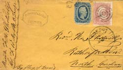 POW cover from Pt. Lookout , Maryland bearing both U.S. and Confederate postage